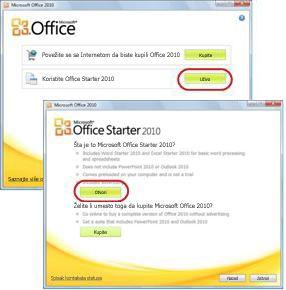 Prvo korišćenje sistema Office Starter