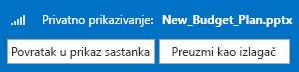 Snimak ekrana privatnog pregledanja