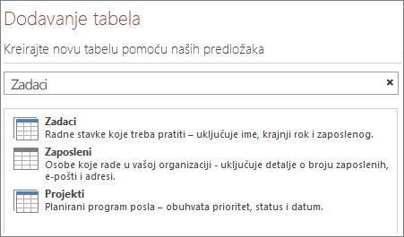 Okvir za pretraživanje predložaka tabela na ekranu dobrodošlice programa Access.