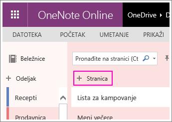 Snimak ekrana koji prikazuje kako se dodaje stranica u programu OneNote Online.