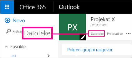 """Snimak ekrana izbora stavku """"Datoteke"""" u okviru """"Grupa"""" za odlazak na OneDrive za grupu"""