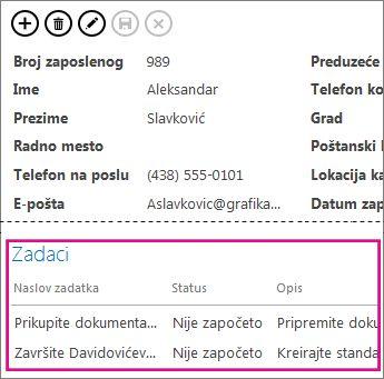 Prikaz u Access aplikaciji sa zaduženjima prikazanim u kontroli za povezane stavke.