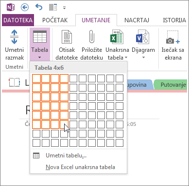 Umetanje tabele u programu OneNote.