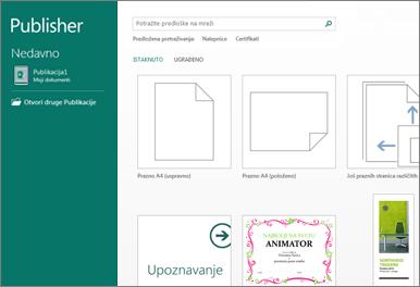 Snimak ekrana predložaka za prve korake u programu Publisher.