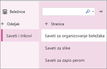 Odeljci i stranice u programu OneNote Online