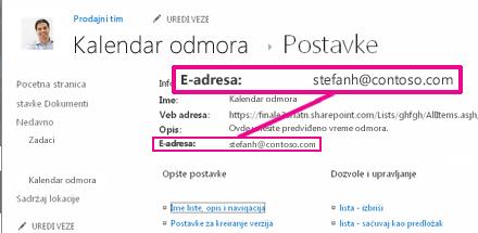 Dodavanje fascikli slanjem e-pošte