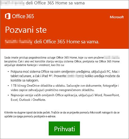 E-poruka sa obaveštenjem da neko deli Office 365 Home sa vama