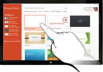 PowerPoint na uređajima sa kontrolom dodirom