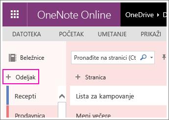 Snimak ekrana koji prikazuje kako se pravi nov odeljak u programu OneNote Online.