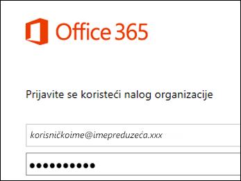Ekran za prijavljivanje na Office 365 portal