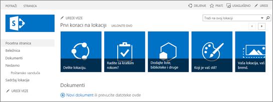 Snimak ekrana lokacije tima u sistemu SharePoint 2013