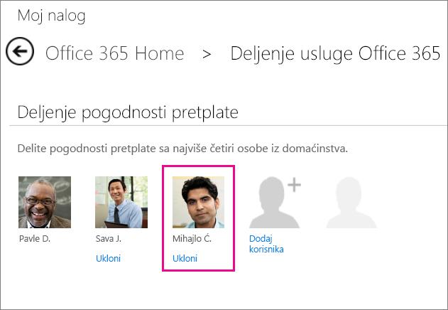 """Snimak ekrana stranice """"Delite Office 365"""" sa izabranom korisničkom opcijom """"Ukloni""""."""