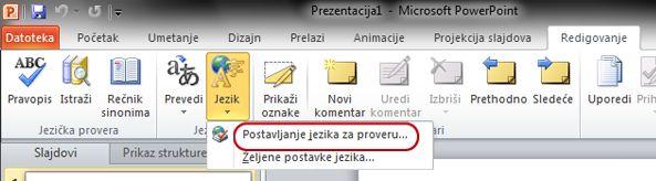 """Dugme """"Podesi jezik"""" na kartici """"Redigovanje"""" na traci u programu PowerPoint"""