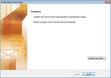 Obaveštenje o tome da je nalog konfigurisan