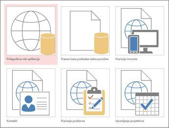 Prikaz predložaka na početnom ekranu u programu Access