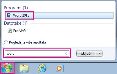 Tražite Office aplikacije u operativnom sistemu Windows 7
