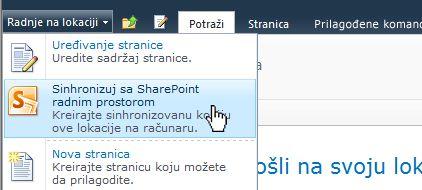 Izaberite ovu opciju da biste SharePoint lokaciju sinhronizovali sa računarom