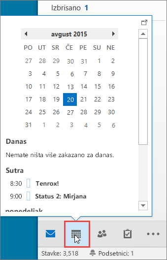"Pogled na kalendar sa pozvanom ikonom ""Kalendar"""