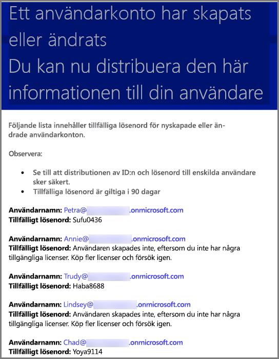 Ett exempel på ett e-postmeddelande med inloggningsinformation