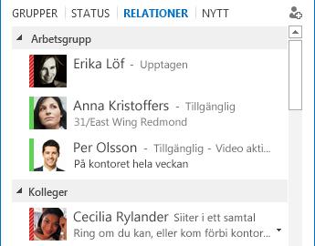 Skärmdump som visar sortering av kontakter efter relation