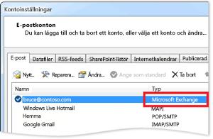 Exempel på ett Exchange-konto i dialogrutan med kontoinställningar