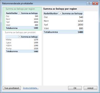 I Rekommenderade pivottabeller väljer du Pivottabellayout i Excel
