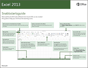Snabbstartsguide för Excel 2013