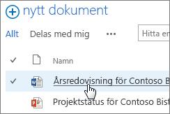 Klicka på ett dokument för att öppna det