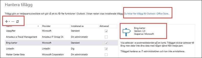 Hantera tillägg i Outlook