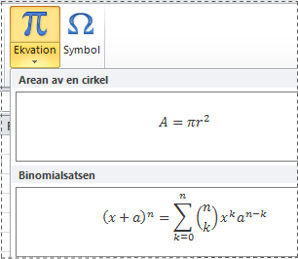 Förformaterade ekvationer i ekvationslistan