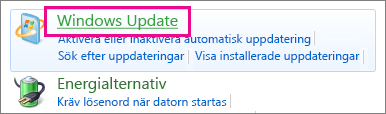 Windows Update-länken i kontrollpanelen