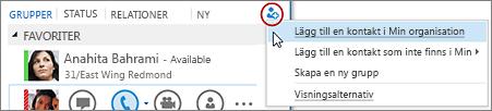 Klicka på knappen Lägg till en kontakt i huvudfönstret i Lync