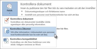 Kommandot Tillgänglighetskontroll i Word 2013