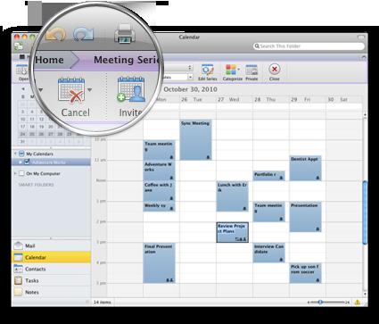 Outlook-gränssnittet med det nya menyfliksområdet