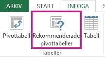 Rekommenderade pivottabeller på fliken Infoga i Excel