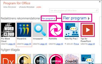Klicka på Fler program för att bläddra bland program i butiken