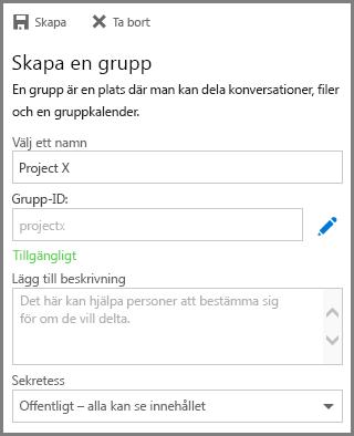 Skärmbild av hur du skriver ett namn och klickar på Skapa för att skapa en grupp från OneDrive för företag