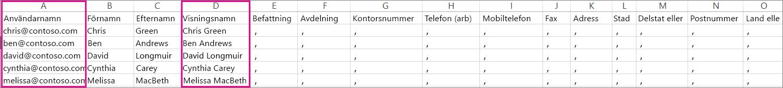 En exempel-CSV-fil som innehåller tomma rader har angetts