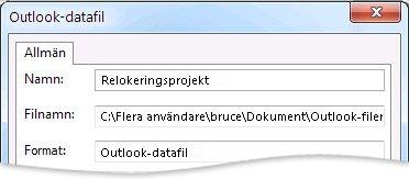 Dialogrutan Outlook-datafil