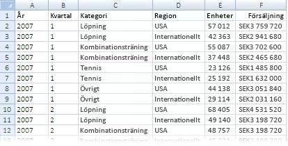 Data som används i en pivottabellrapport