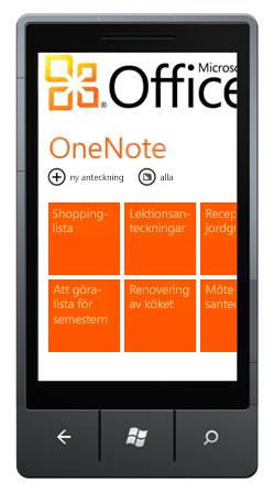 OneNote Mobile 2010-hubben