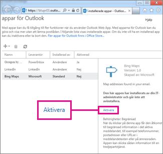 Aktivera ett program för Outlook