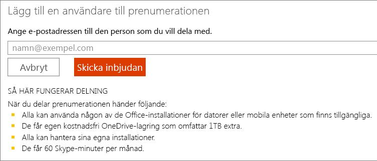 Skärmbild av dialogrutan för att lägga till en användare för prenumerationen.