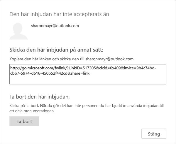 Skärmbild av dialogrutan för en väntande inbjudan, med en länk för att skicka via e-post och en knapp för att ta bort inbjudan.