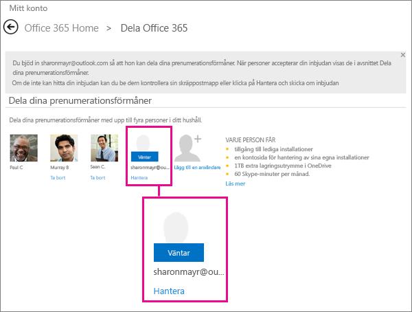 Skärmbild av sidan Dela Office 365 med en användare som väntar på en delad prenumeration markerad.
