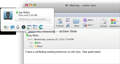 Snabbmeddelande som skickas från Outlook