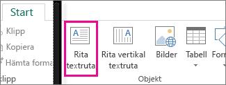 Skärmbild av textrutan Rita i Publisher.