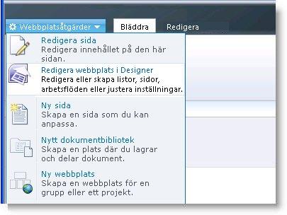 Menyn Webbplatsåtgärder i SharePoint Designer 2010