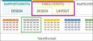 Gruppen Tabellformat på fliken Design under Tabellverktyg