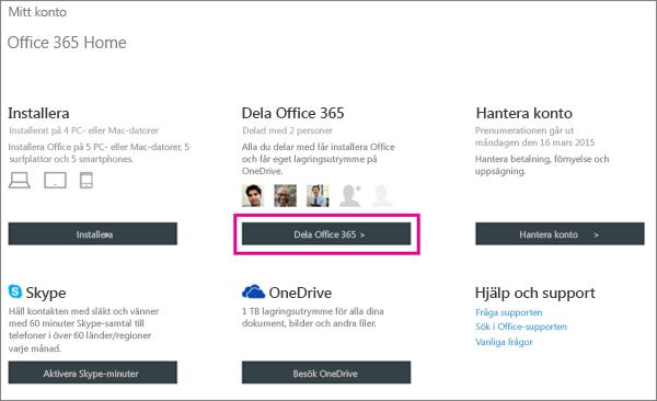 """Skärmbild av sidan Mitt konto med knappen """"Dela Office 365"""" markerad."""